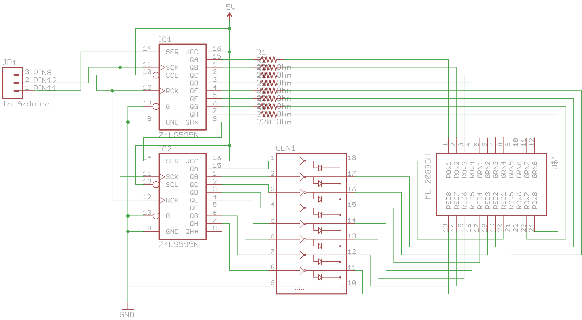 Fun With 88 Led Matrix Insidegadgets Circuit Diagram As Described In The Datasheet Of Max7219 Schematic