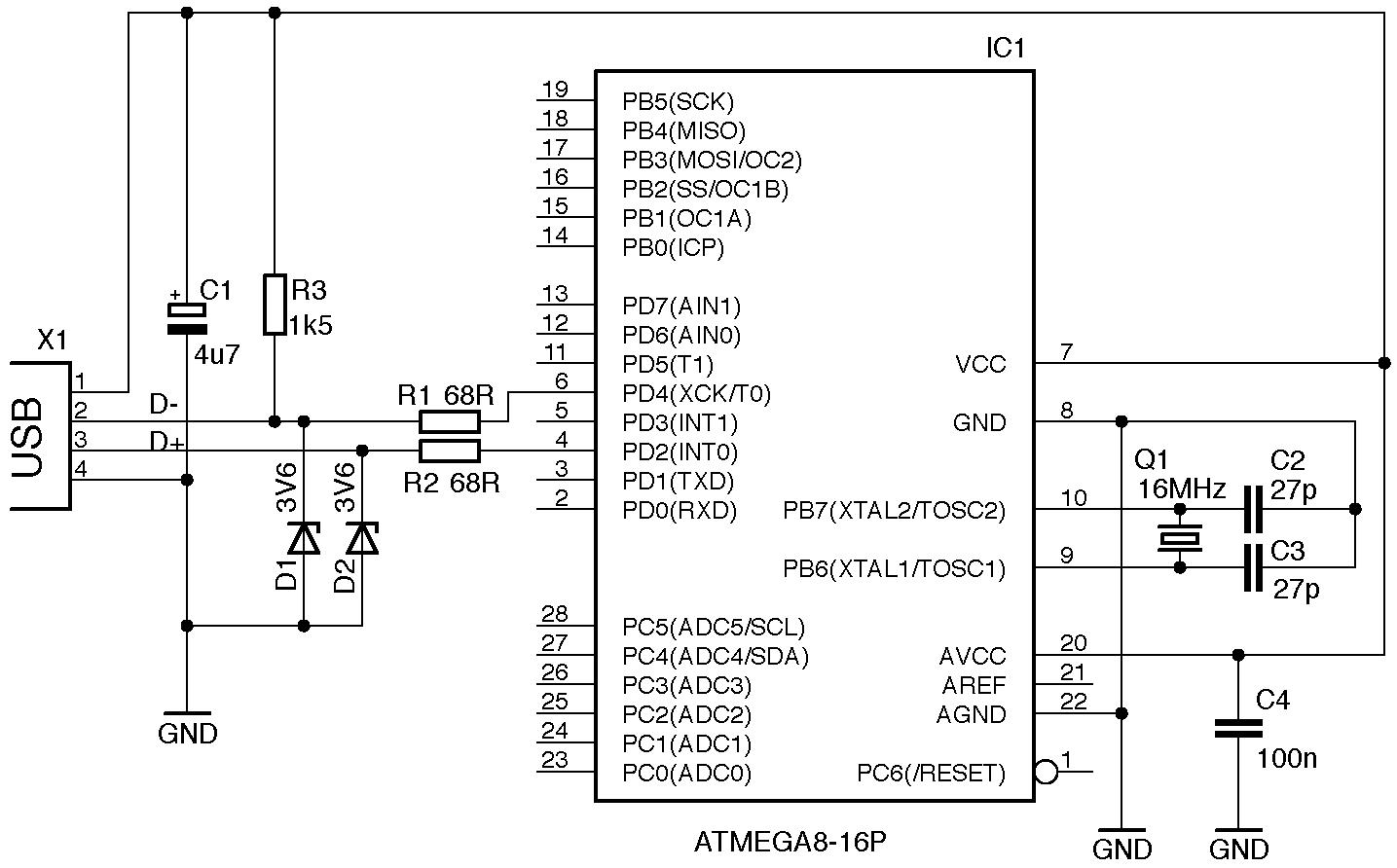 v usb schematic – comvt, Wiring schematic