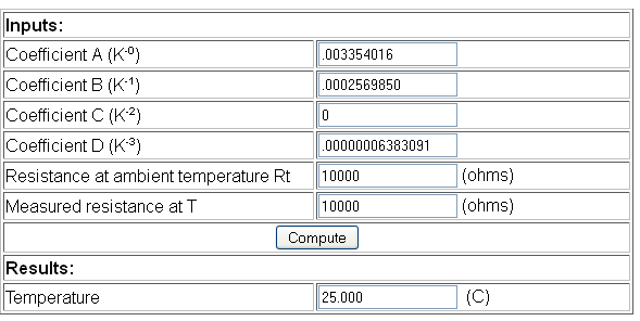 Verifying the thermistor function for temperature reading