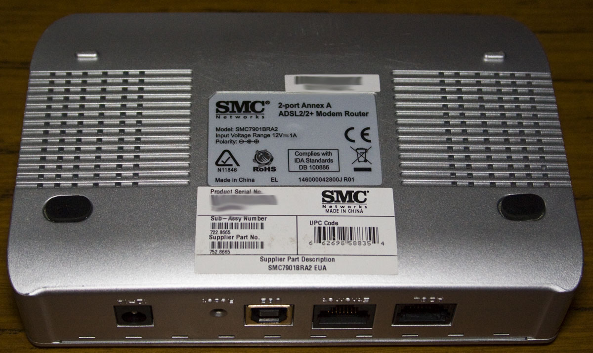 Today we'll be taking a quick look at the SMC 2-Port Annex A ADSL2/2+ Modem  Router (SMC7901BRA2) which has a date code of 2008/4th week and it's a  simple ...